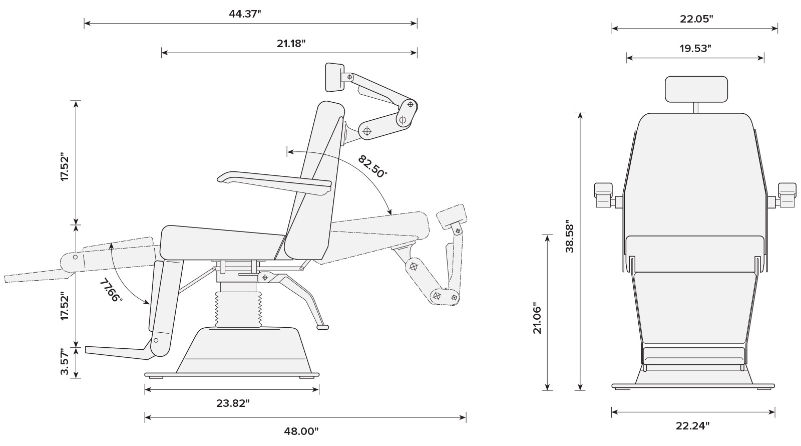 Marco Encore Automatic Exam Chair Measurements Specs
